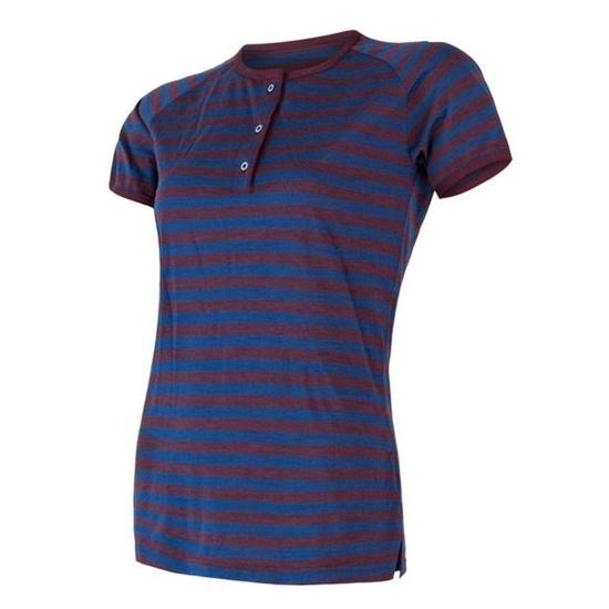 ženske majica Sensor MERINO AIR PT kr.rukáv z gumbi modra / bordo stripes 18200014