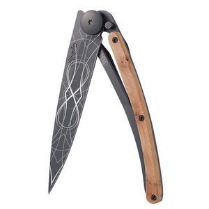 žep nož Deejo 1GB126 Tattoo neskončno, črna, 37g, eksotična brina, Deejo