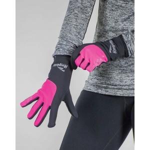 ženske tek na smučeh zima rokavice Rogelli Dotaknite se, 890.004. črna odsevna roza, Rogelli