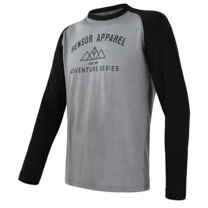 moški majica Sensor Merino DF Adventure dl.rukáv siva / črna 19100007, Sensor