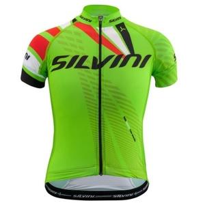 Otroški kolesarjenje majica Silvini ekipa CD1435 zeleno-rdeča, Silvini