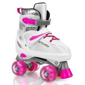 Spokey BUFF treking skate urejeno, ABEC 5, belo-roza, vel. 39-42