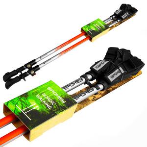 Spokey TIERRA hole Nordic Walking 2-dílné, Easy kliknite rokavica sistem, črno-oranžna