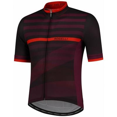 cyklodresy Rogelli STRIPE z kratko rokav, črno-bordo-rdeča 001.103, Rogelli