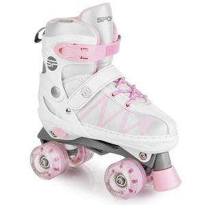 Tekmovalne drsalke Spokey BUFF PRO nastavljiv bela in roza, Spokey