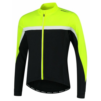 Moški toplo kolesarski dres Rogelli Seveda odsevno črno rumeno-bela ROG351004, Rogelli