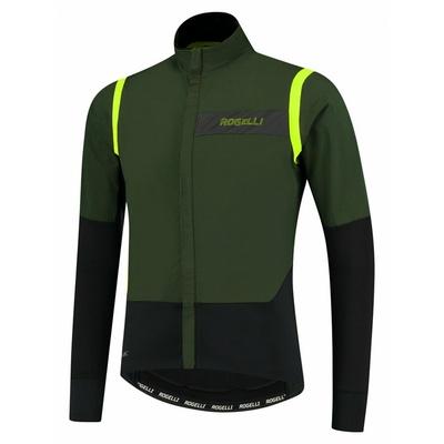 Moški ultralahka kolesarska jakna Rogelli Neskončno brez izolacije kaki-črno-odsevna Rumena ROG351048, Rogelli