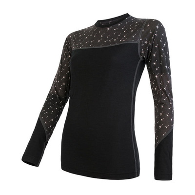 ženske majica Sensor Merino Impress črna / vzorec 19200025, Sensor