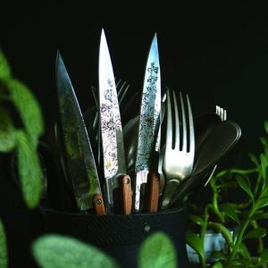 Deejo niz 6 stealpvácj nož, svetla površina, olivno les, oblikovanje 'cvetje' 2AB010, Deejo