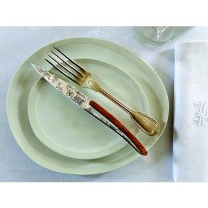 Deejo niz 6 stealpvácj nož, svetla površina, olivno les, oblikovanje 'Toile de Jouy' 2AB011, Deejo