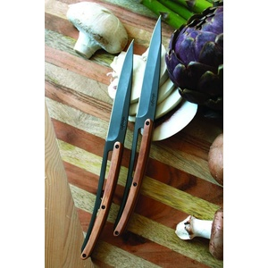 Deejo niz 6 steakových nož, titan površina rezilo, olivno les 2FB001, Deejo