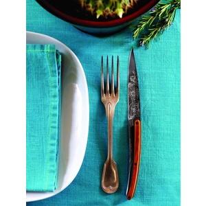 Deejo niz 6 steakových nož, titan površina rezilo, olivno les, oblikovanje 'cvetje' 2FB010, Deejo