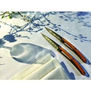 Deejo niz 6 steakových nož, titan površina rezilo, olivno les, oblikovanje 'Art deco' 2FB012, Deejo