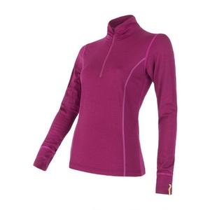 ženske majica z ovratnik na zip Sensor Merino volna Aktivno lila 12110030, Sensor