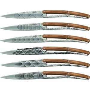 Deejo niz 6 stealpvácj nož, svetla površina, olivno les, oblikovanje 'Art deco' 2AB012, Deejo
