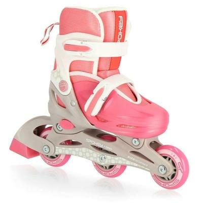 Otroški rolerji Spokey NINO belo-rožnate barve, ABEC1 Carbon, Spokey